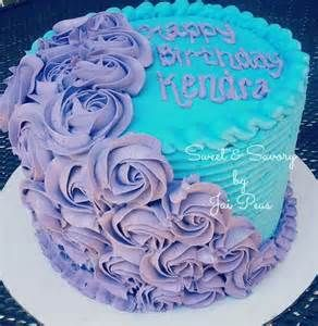 Purple and Blue Round Rose Cake (June 2016 - N&S 5th)