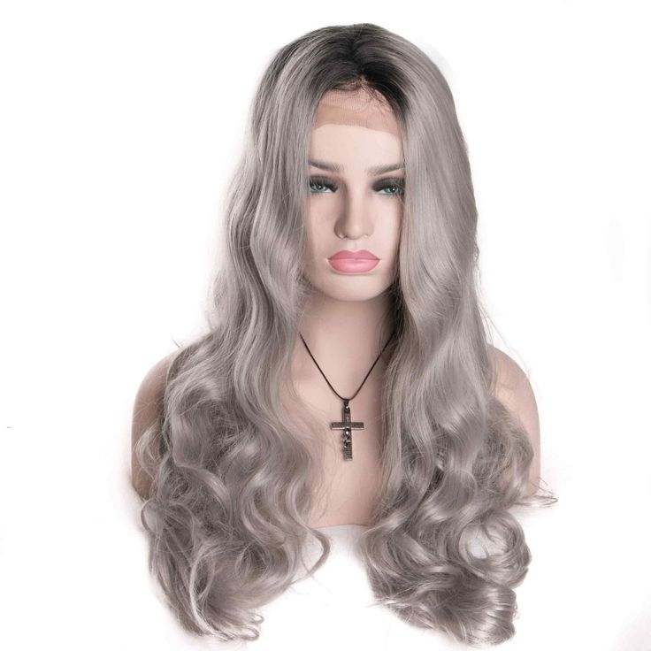 (38.61$)  Buy here - http://ai58i.worlditems.win/all/product.php?id=32779378533 - long Wavy Grey Wigs Ombre Synthetic Lace Front Wigs Pelucas Sinteticas Grey Wigs For Ladies Perucas Cosplay Wigs Lace Frontal