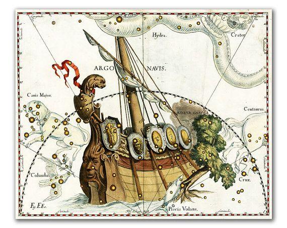 Argo Navis Constellation vintage celestial map by DejaVuPrintStore, $11.90