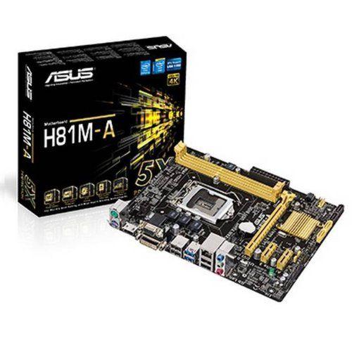 Asus Motherboard H81M-A Core i7/i5/i3 H81 LGA1150 16GB DDR3 PCI Express SATA USB microATX Retail