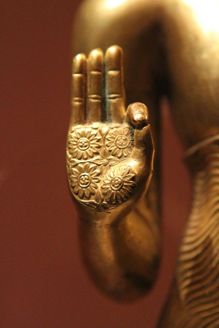 Buddha hand in Vitarka mudraA hand gesture that invokes the transmission of a particular teaching with no words. The circle formed by the thumb and index finger creates a constant flow of energy/information.