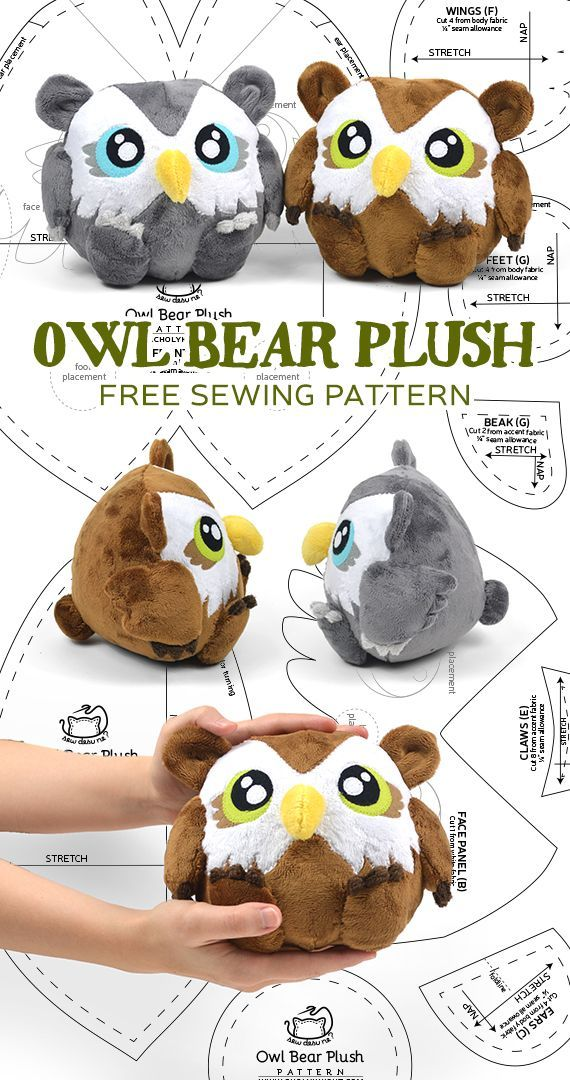 Owl bear plush free PDF pattern download!