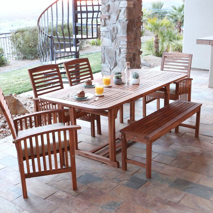 Outdoor Walker Edison Acacia Patio Dining Set with Bench and Cushions -  Seats 6 - HNW6SBR - Best 10+ Dining Set With Bench Ideas On Pinterest Wood Tables