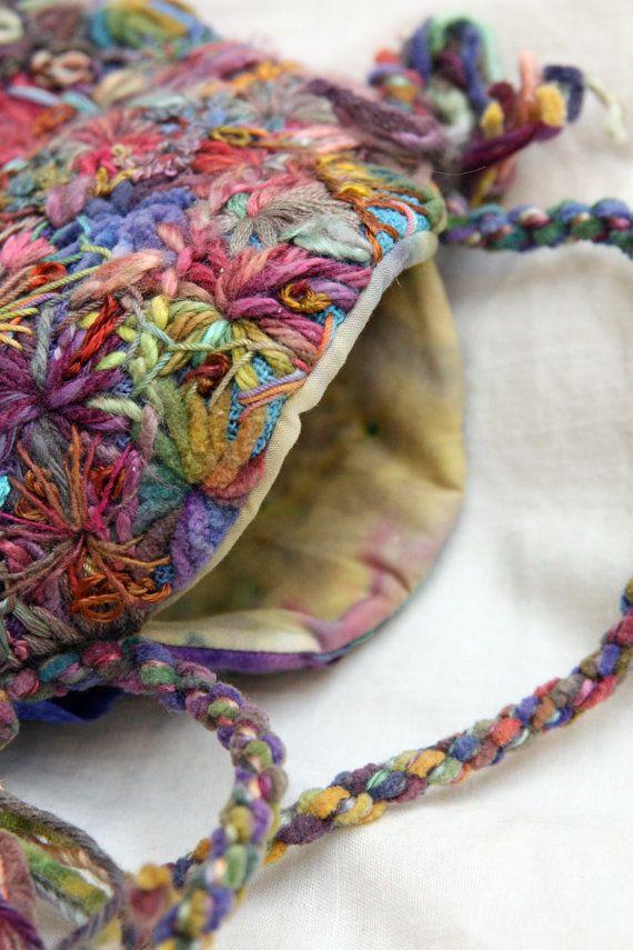 Hand Embroidered Small Rainbow Bag