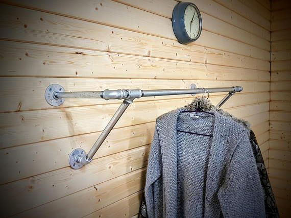 Industrial Pipe Clothes Rail Shelf Clothing Rack Wall Mounted Custom Made