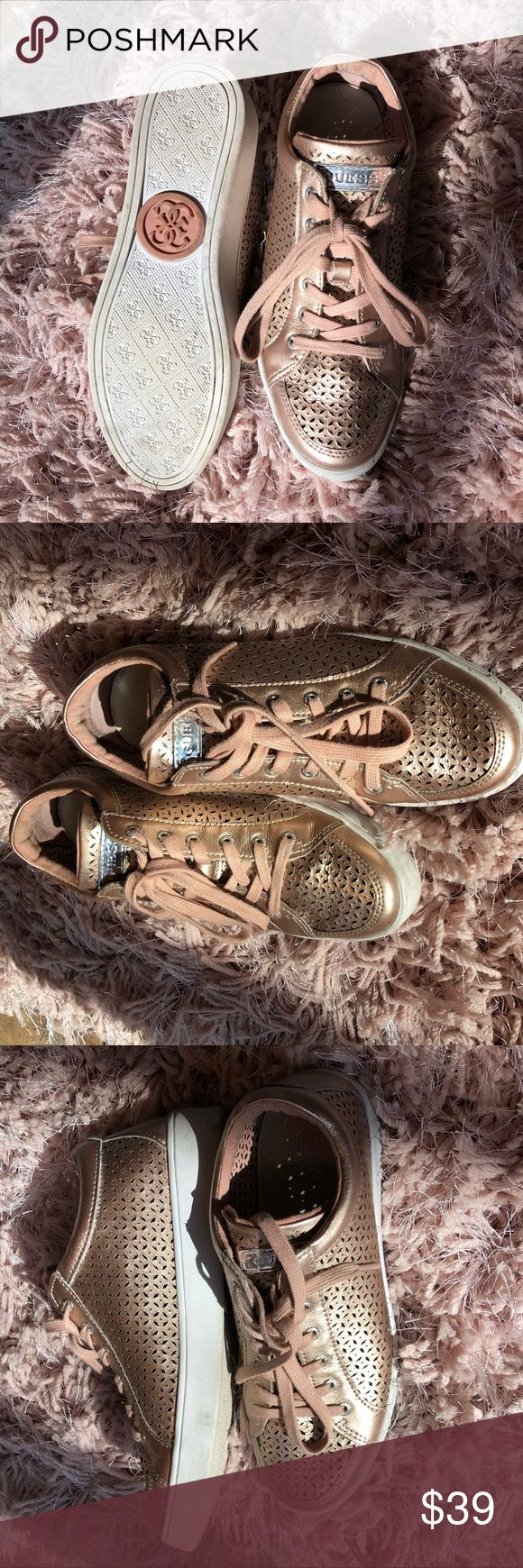 Guess Rose Gold Sneakers Guess Sneakers with Rose Gold leather mesh. Beautiful shoes from Amsterdam. Perfect for spring. Guess Shoes Sneakers