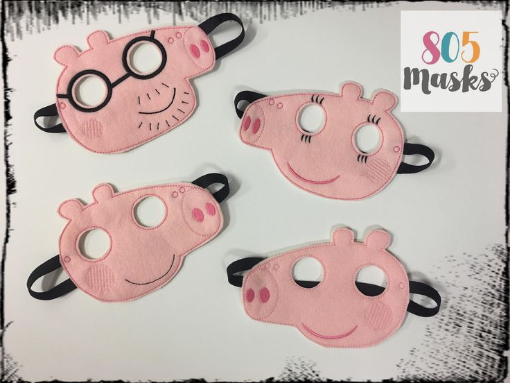 Peppa Pig Inspired Masks, Peppa Inspired Mask, Mamma Pig, Papa Pig, Peppa Pig birthday party, Peppa Pig party favor, Cosplay, Kids Masks by 805Masks on Etsy