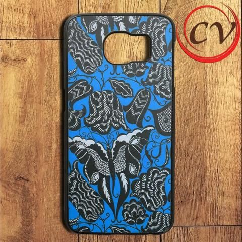 Blue Floral Butterfly Samsung Galaxy S6 Edge Plus Case