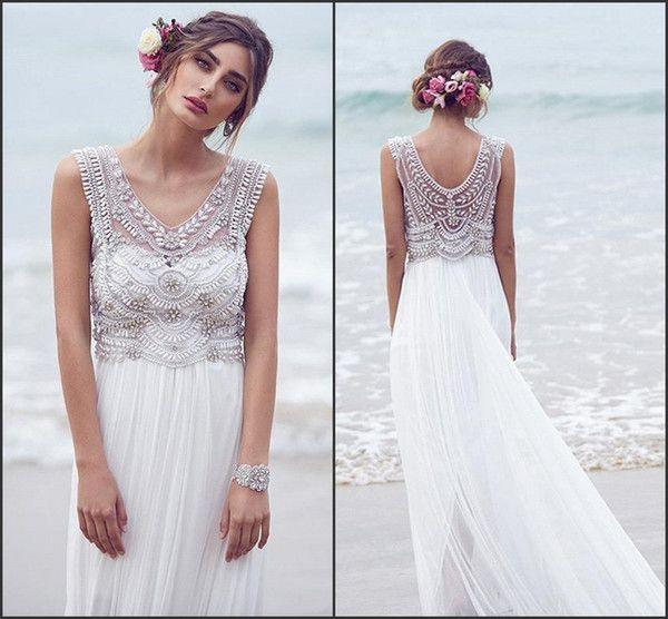 2016 Anna Campbell vestidos de novia de lujo Boho Vestidos de novia con mangas de gasa Crystal Beach la longitud del piso Vestido De Novia BO8632
