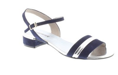 Magnus Suede Mid Heel Sandal With A Silver Trim - Sandals / Mules - Womens