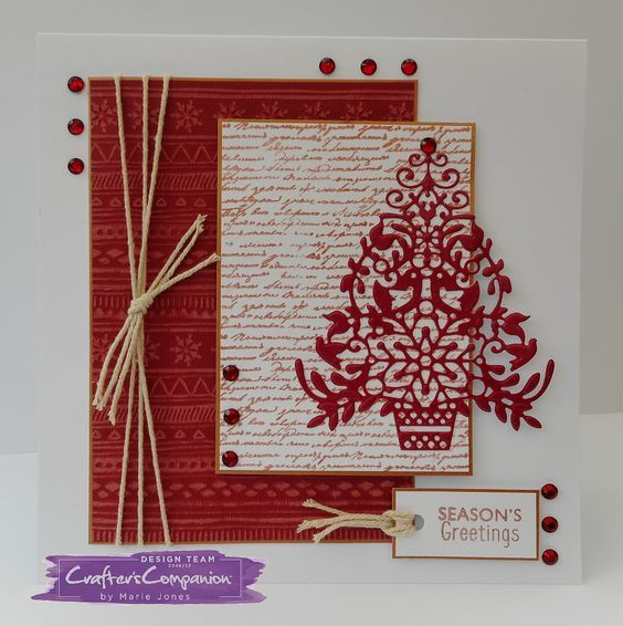 21cm x 15cm card made using Sara Signature Scandinavian Christmas Collection - Stylish Scandi die and stamp set, ˜Tis the Season stamp and Bakers Twine. Designed by Marie Jones #crafterscompanion