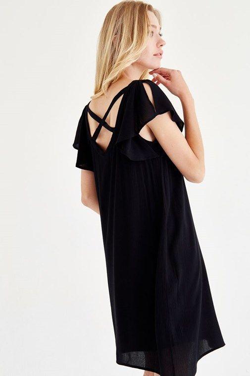 Bayan Siyah Sırt Detaylı Elbise
