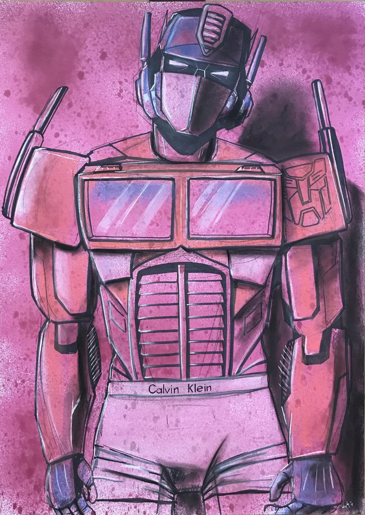 [Fan-Art] My mash up of Transformers and Mark Wahlbergs underwear modelling career. (Ink and Pastel)