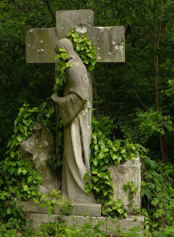 In Kerepesi Cemetery in Budapest, Hungary, a portion of the cemetery is almost a jungle.  Gravestones are hidden by brush.: Kerepesi Cemetery, Angel Statuari, Beautiful, Cemetery Statuari, Gardens Art, Crosses, Graveyards, Abandoned Cemetery, Gardens Statues