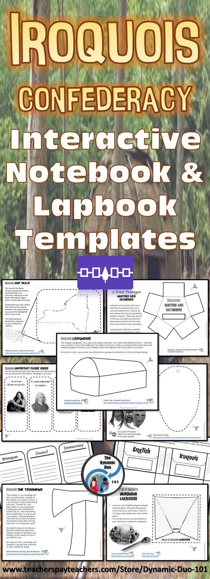 Iroquois Confederacy Interactive Notebook and Lapbook Activities - perfect engaging lesson activities for your Native American unit!