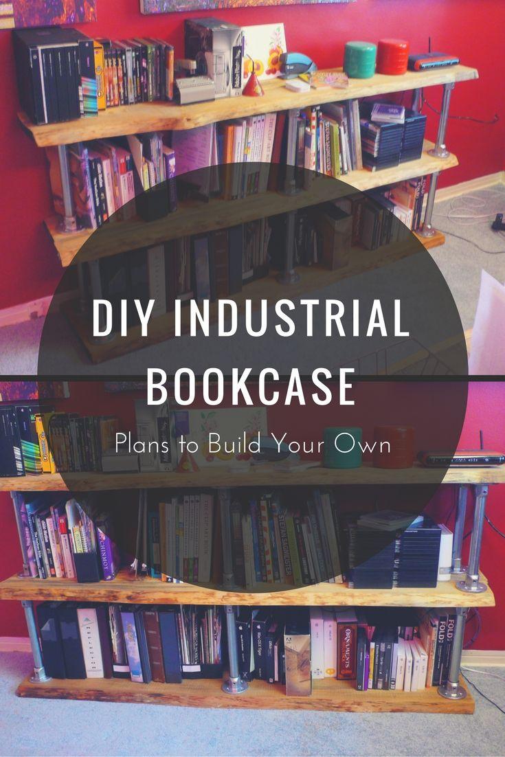 diy industrial bookcase plans to build your own keeklamp diy pipeshelf pipefurniture. Black Bedroom Furniture Sets. Home Design Ideas