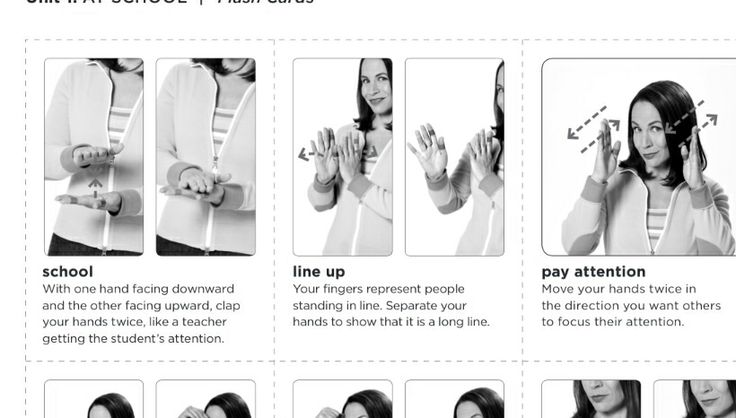 American sign language for school, line up, and pay ...
