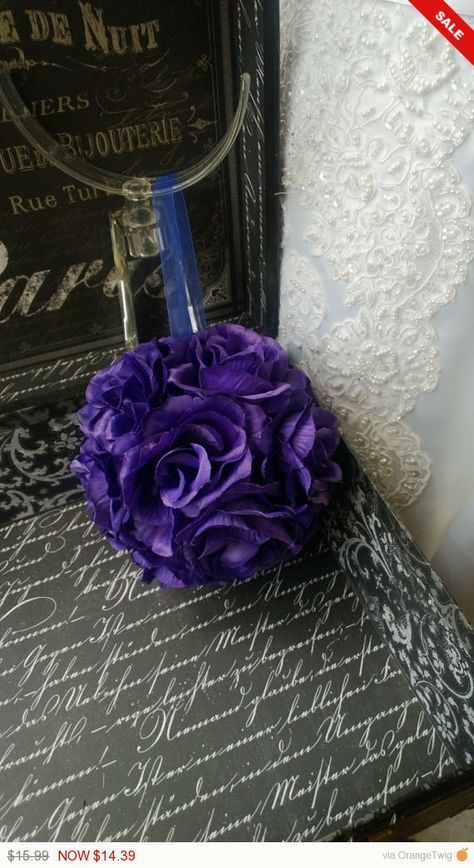Sale - This listing includes 1 6in Round Purple Rose Kissing Ball with sheer ribbon loop. $15.99 You will receive the item that is pictured. Please allow 1-2 Business Days from payment date for proces