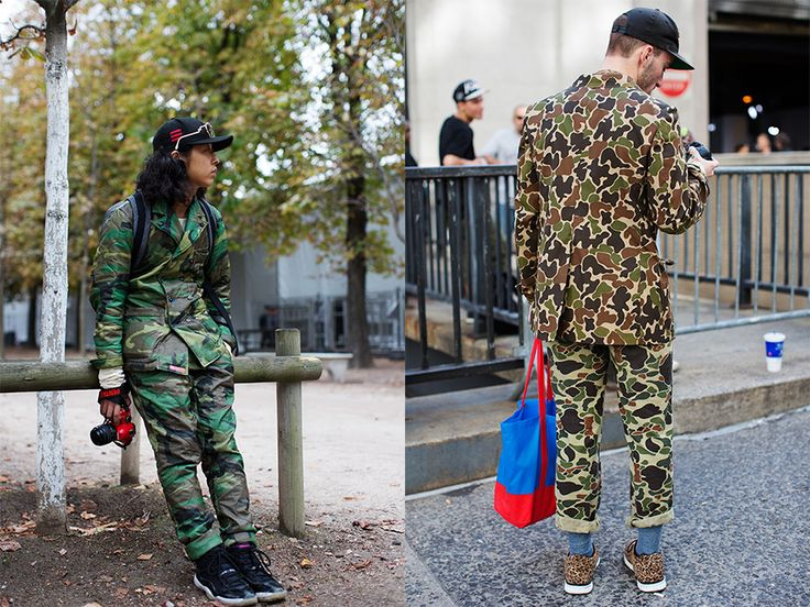 Monday, October 29, 2012  On the Street…..Camo Suit, Paris - maybe as a jacket or pants BUT A WHOLE SUIT??? I don't think so.
