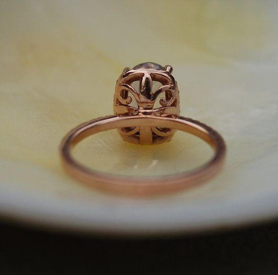 Ahumado marrón zafiro anillo 14k oro rosa por EidelPrecious en Etsy