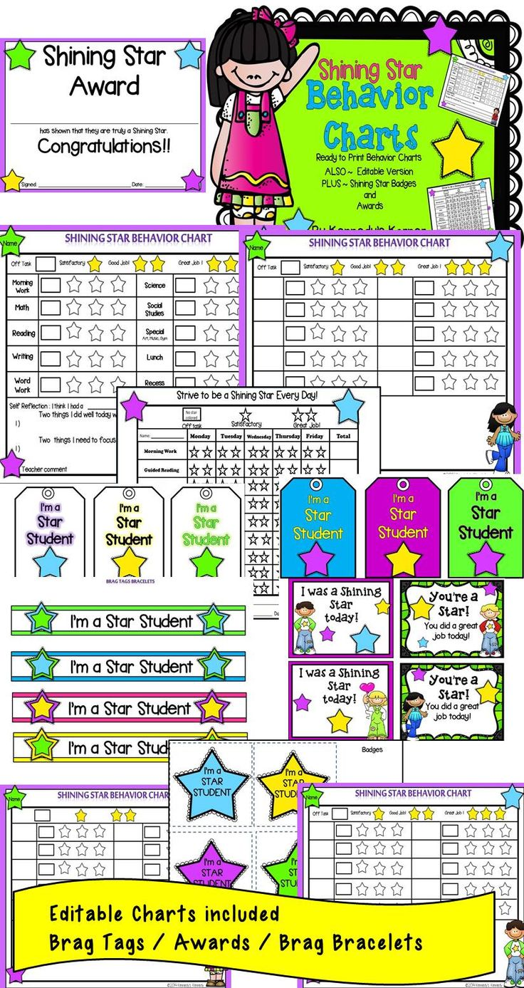 Encourage your students to be a  SHINING STAR - Editable Behavior Charts / Brag Tags / Awards / Brag Bracelets