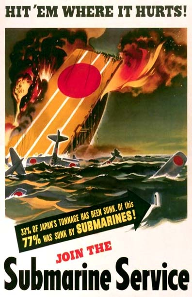 There are many great submarine recruiting posters from WWII! This is one of them! We have it hanging in out museum!