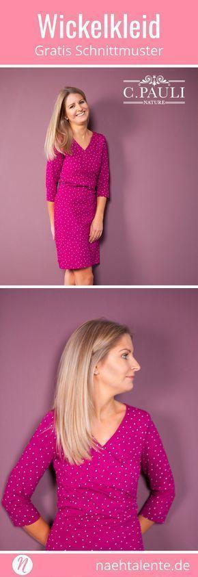 Wickelkleid aus Jersey für Damen in Gr. S, M, L