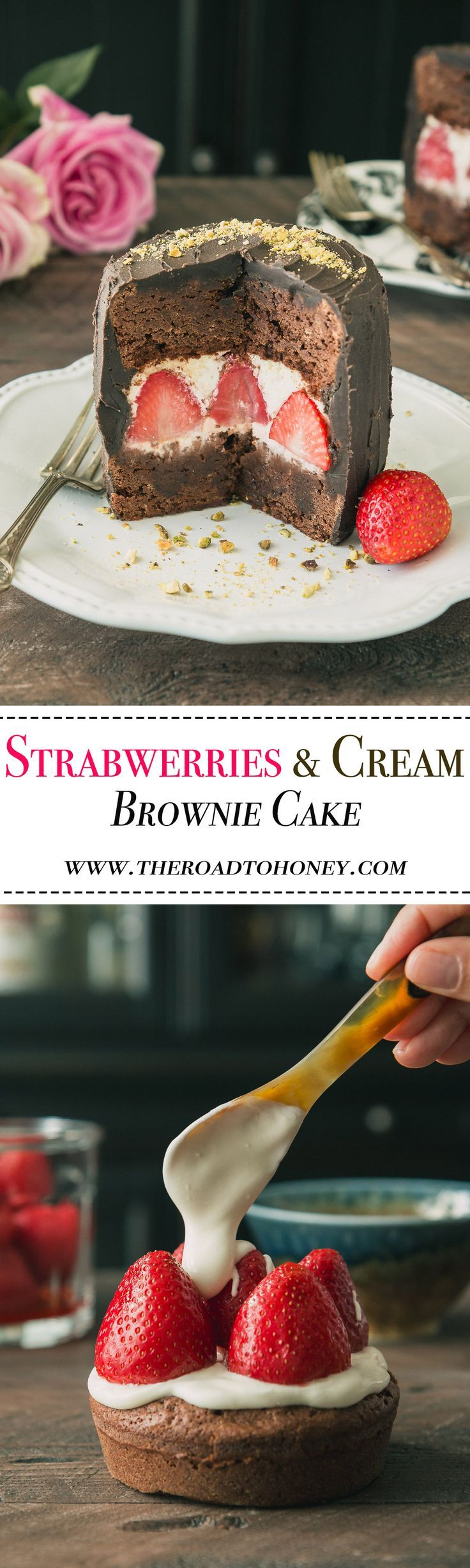 Strawberries & Cream Brownie Cake - A chocolate lover's dream come true. This rich & fudge brownie cake is stuffed with whole strawberries & cream & surrounded with a black cocoa frosting. Perfect for Valentines Day or any other day you want to treat yourself to a decadent treat. Click for RECIPE.