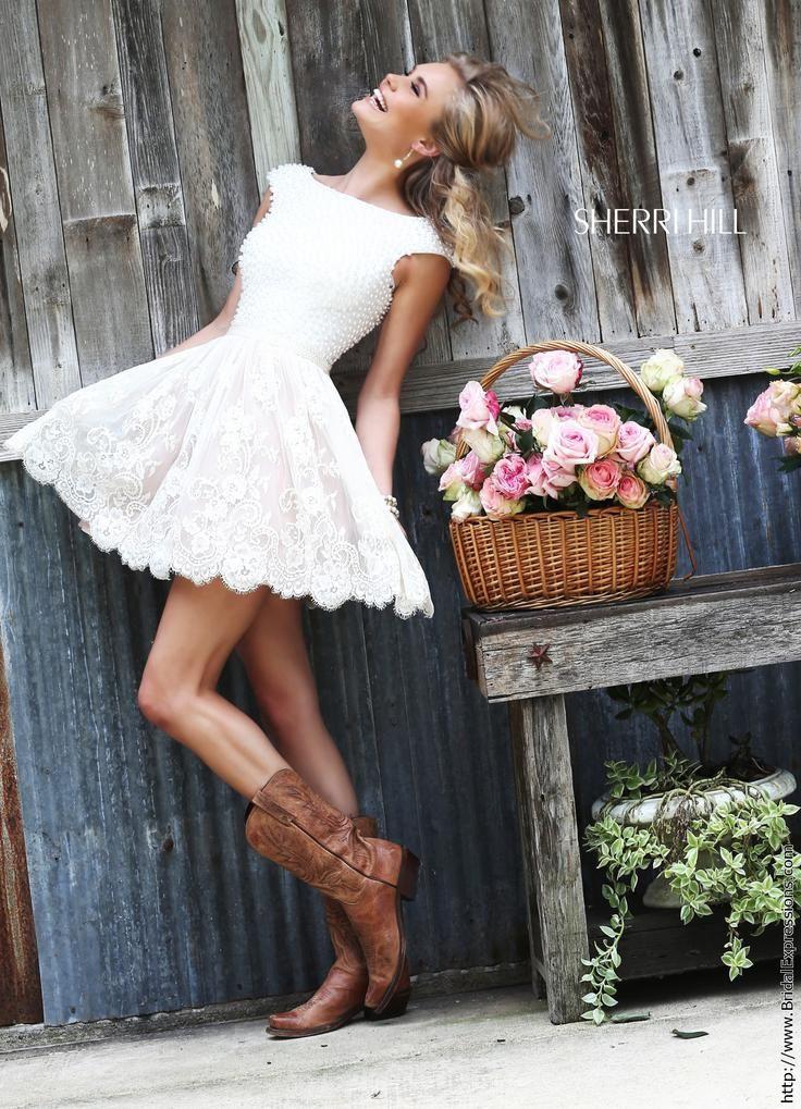 Sherri Hill 32257 Short Lace and Pearl Prom Dress