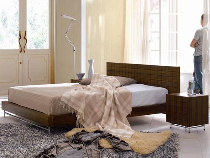 contemporary  italian wooden bed design