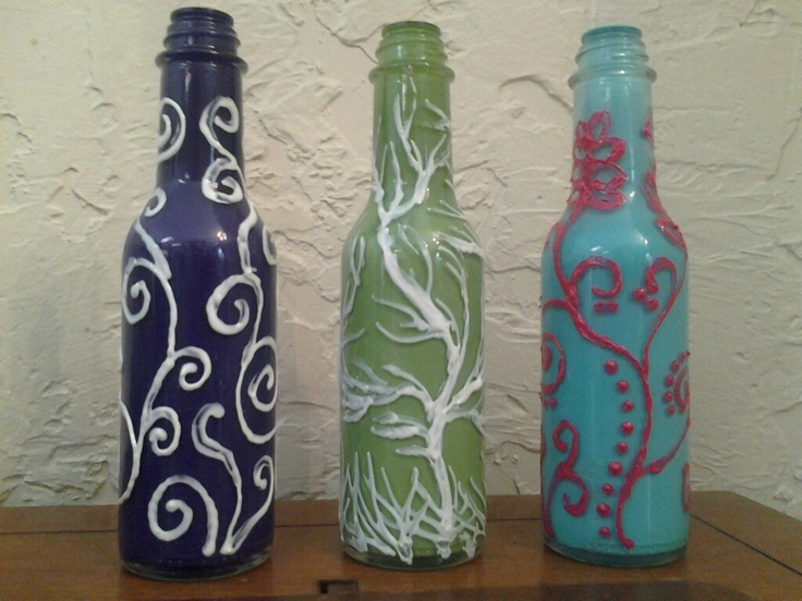 Bottle art i painted the inside of these clear bottles for How to paint bottles with acrylic
