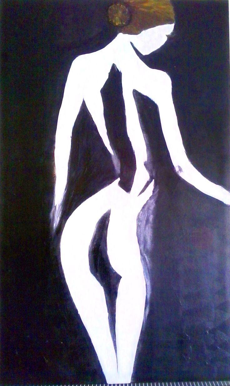 Mystérieuse  Tableau unique format 100x60cm  année: 2015 Technique: Peinture à l'acrylique, graphite et crème de patine Support: Contreplaqué épais. Protégée par un vernis afin de donner une très bonne longévité.