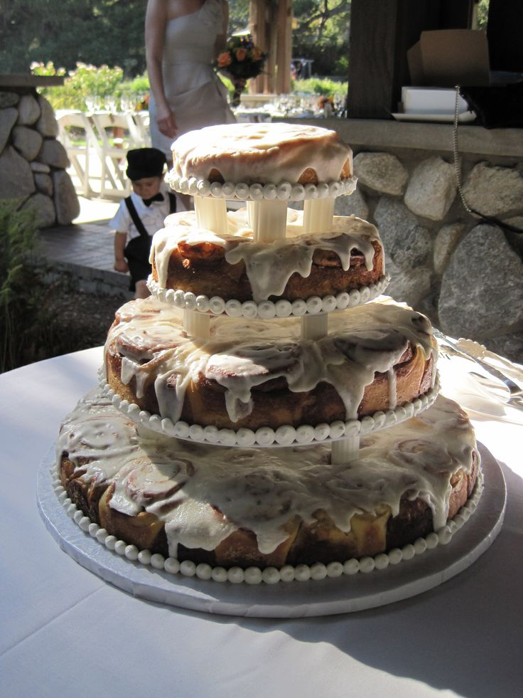 cinnamon roll cake Great for a bridal shower brunch.