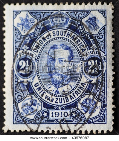 stock photo : UNION OF SOUTH AFRICA-CIRCA 1910: Postage stamp of the Union of South Africa with the head of British King George, circa 1910