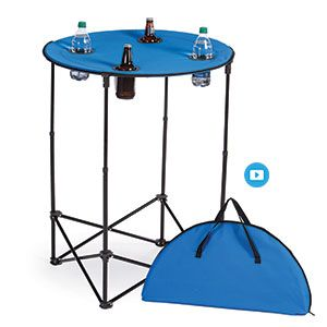 """ADJUSTABLE HEIGHT OUTDOOR TABLE  Product # PCN12289 - Portable 28"""" round table is made of sturdy polyester and features stand that extends from 24"""" to 36"""" standing height. Four recessed mesh pockets for beverages. Sets up in seconds and is portable and convenient for tailgating or use for pool, patio, backyard entertaining and camping. Folds up easily into a semi-circle and includes a matching carrying case for easy transporting."""