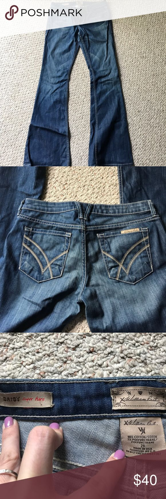 William Rast Daisy super flare jeans size 29 Gently used jeans with a cool rinse and great back pockets! Bottom legs have some wear but not much-shown in last picture! William Rast Jeans Flare & Wide Leg
