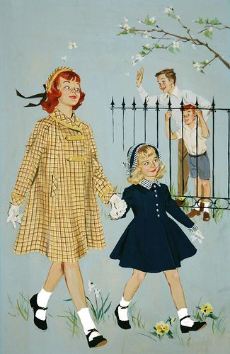 Barbara Bradley (1927 - 2008). Yep, we dressed liked that and those darn white socks would always slide down your heel into your shoe.