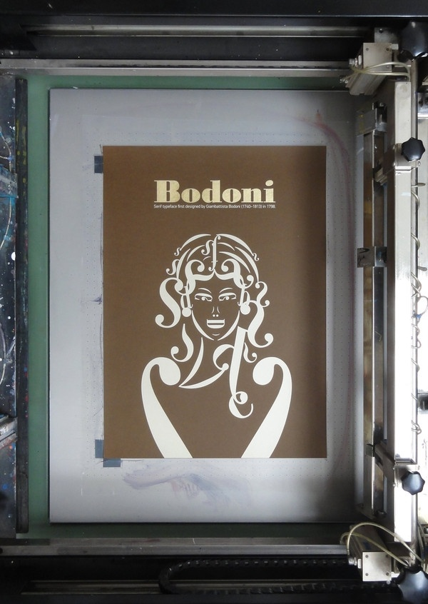 Bodoni Girl Silkscreened and Gold Leafed - Andreas Xenoulis | Design.org
