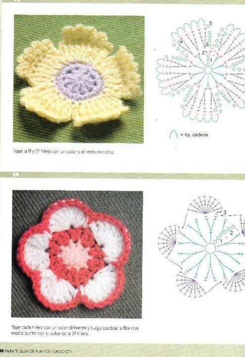210 best flores crochet images on Pinterest | Flores de ganchillo ...