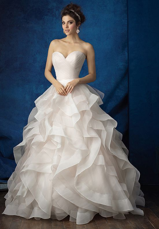 Ruffled Chapel Length Wedding Ballgown | Style 9375 by Allure Bridals |  http://trib.al/GlJ0M3f