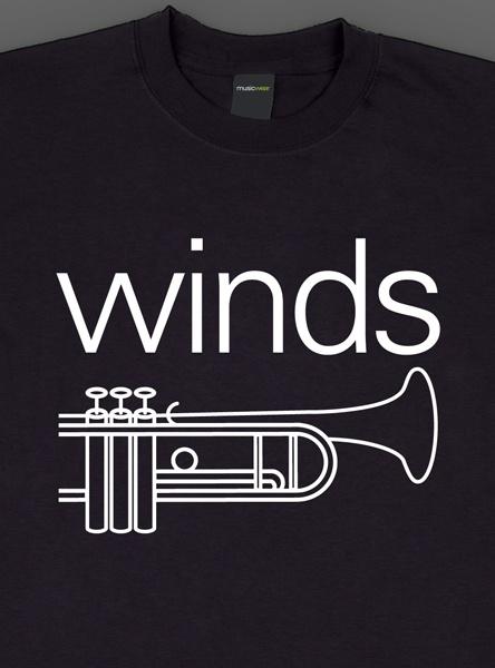 Remera musicwear  winds blanco sobre negro