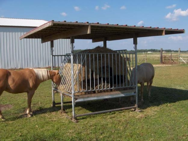 Bale feeders for horses and cows