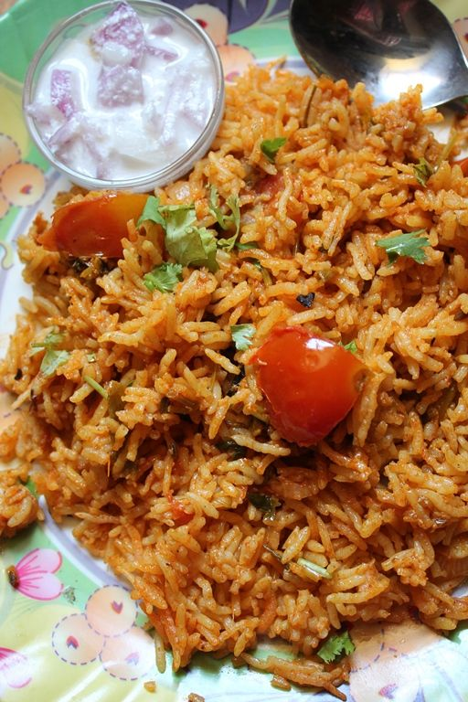 Tomato Biryani Recipe / Thakkali Biryani Recipe / Tomato Biryani in Rice Cooker / Tomato Rice Recipe / Thakkali Sadam Recipe - Rice Cooker Recipes (no rice cooker anymore, but could use the slow cooker-it just takes awhile, not as quick as the stove-or oven-covered baking dish at 350 for about the same time as on stove. I usually start checking it after about 45 min. Asw)