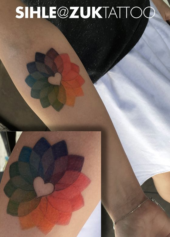 Tatuaje de un círculo cromático.