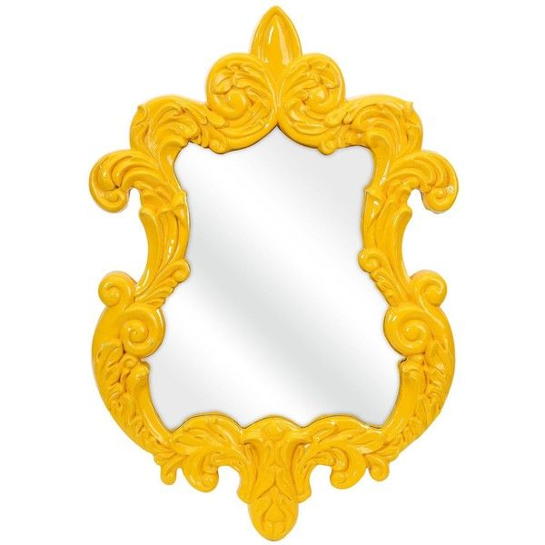 "Universal Lighting and Decor Finely Yellow Baroque 21"" x 30"" Framed... ($170) ❤ liked on Polyvore featuring home, home decor, mirrors, yellow, framed mirrors, yellow home accessories, rectangle wall mirror, baroque wall mirror and baroque home decor"