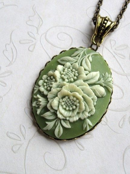 Vintage Green Cameo Long Necklace Free Shipping by botanicalbird