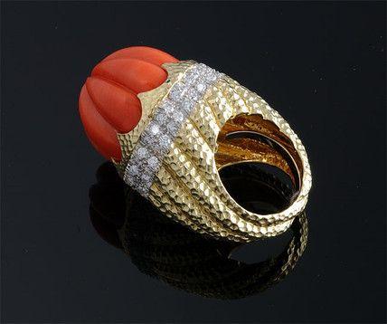 """David Webb"" Carved Coral and Diamond Ring ~ M.S. Rau Antiques"