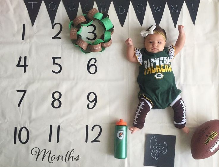 Three months baby milestone picture. September. Football season.