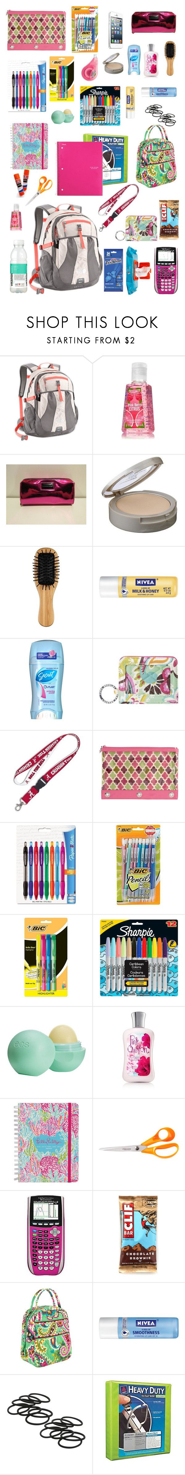"""Backpack essentials for back to school"" by cb14 ❤ liked on Polyvore featuring Victoria's Secret, Neutrogena, John Lewis, Nivea, Vera Bradley, Paper Mate, Wite, Sharpie, Eos and Lilly Pulitzer"