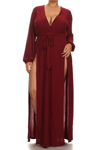 Plus Size Glamour Slit Tie Maxi Dress